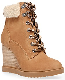 Sherman Faux-Shearling Lace-Up Wedge Booties