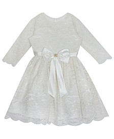 Little Girl Glitter Lace Dress With Satin Bow