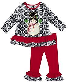 Little Girl Snowman Applique Legging Set