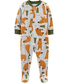 Toddler Boy 1-Piece Bear Fleece Footie PJs
