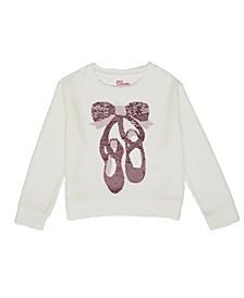 Toddler Girls Long Sleeve Flip Sequin Ballet Shoes Velour Top