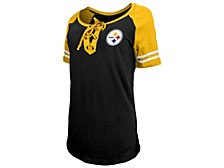 Pittsburgh Steelers Women's Logo Lace Up T-Shirt