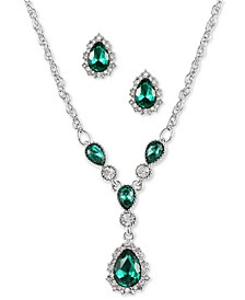 "Silver-Tone Green Stone Teardrop Earrings & Pendant Necklace, 17"" + 2"" extender, Created for Macy's"