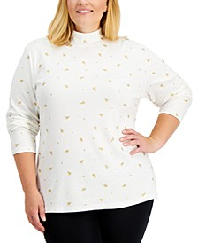 Plus Size Metallic Tree-Print Top, Created for Macy's