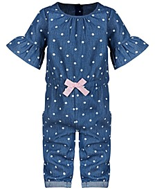 Baby Girls Dot-Print Cotton Romper, Created for Macy's