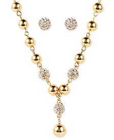 Gold-Tone Bead & Pavé Fireball Lariat Necklace & Stud Earrings Set, Created for Macy's