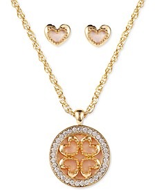 Gold-Tone Crystal & Shell Heart Pendant Necklace & Stud Earrings Set, Created for Macy's