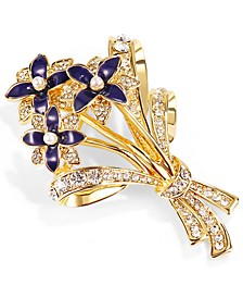 Gold-Tone Navy Crystal Flower Bouquet Box Pin, Created for Macy's