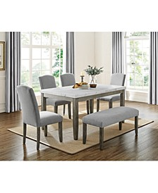 Emily Marble Dining 6-Pc Set ( Table, 4 Side Chairs  & Bench)