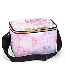 Insulated Pink Marble Lunch Bag