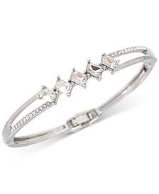 Silver-Tone Pavé & Emerald-Cut Crystal Bangle Bracelet, Created for Macy's