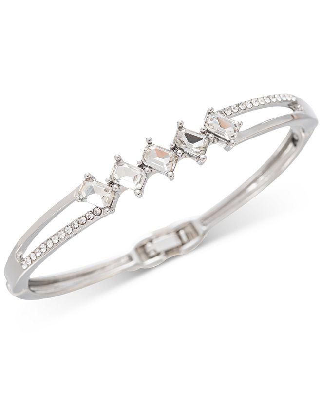 Charter Club Silver-Tone Pavé & Emerald-Cut Crystal Bangle Bracelet, Created for Macy's