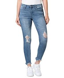 Juniors' Destructed Skinny Ankle Jeans