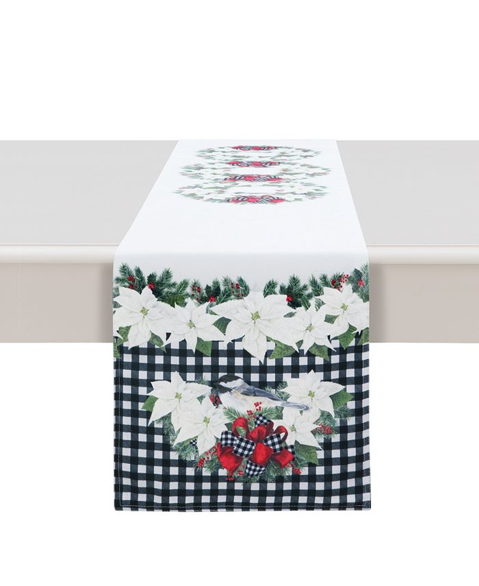 """Laural Home - Christmas Trimmings table runner - 90"""" x 13"""""""