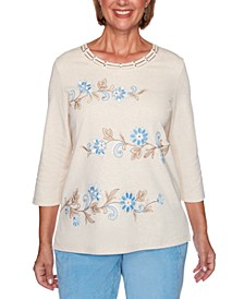 Petite Dover Cliffs Floral Scroll Biadere Embroidered Top