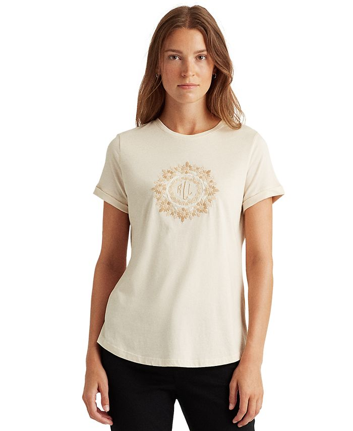 Lauren Ralph Lauren - Embellished Floral Logo Top