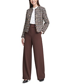 Tweed Cropped Jacket, Pleated Ruffled Blouse & Scuba Crepe Pants