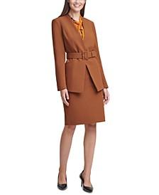 Belted Jacket, Tie-Neck Blouse & Pencil Skirt