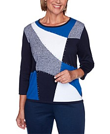 Petite Vacation Mode Embellished Colorblock Sweater