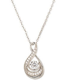 "Silver-Tone Pavé Twisted Pendant Necklace, 17"" + 2"" extender, Created for Macy's"