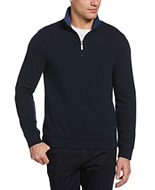 Men's Waffle Mesh Quarter Zip Mock Neck Jacket
