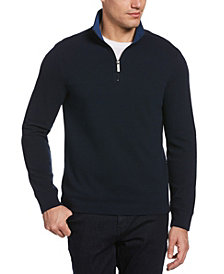 Perry Ellis Men's Waffle Mesh Quarter Zip Mock Neck Jacket