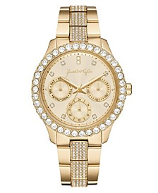 Women's Classic Gold Tone Crystal Bezel Stainless Steel Strap Analog Watch 40mm
