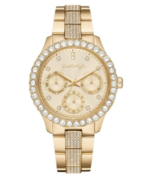 Women's Kendall + Kylie Classic Gold Tone Crystal Bezel Stainless Steel Strap Analog Watch 40mm
