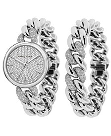 Women's Silver Tone and Crystal Chain Link Stainless Steel Strap Analog Watch and Bracelet Set 40mm