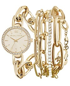 Women's Dainty Gold Tone Chain Link Stainless Steel Strap Analog Watch and Layered Bracelet Set 40mm