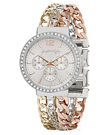 Women's Triple Link Mixed Gold Tone, Silver Tone and Rose Gold Tone Stainless Steel Strap Analog Watch 40mm