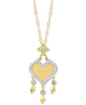 Swiss Blue Topaz (1/6 ct. t.w.) & Diamond (1/10 ct. t.w.) Jasmine Pendant Necklace in 10k Gold