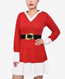 Juniors' Hooded Santa Sweater Dress