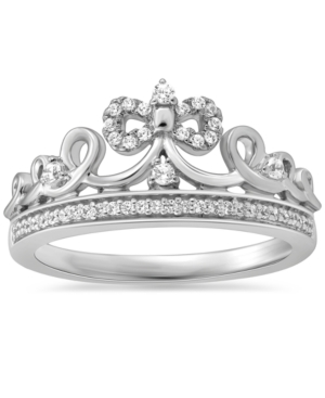 Diamond Cinderella Bow Tiara Ring (1/6 ct. t.w.) in Sterling Silver