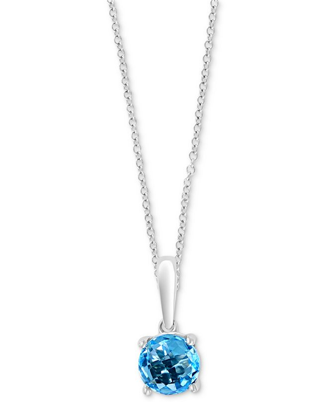 "EFFY Collection EFFY® Blue Topaz 18"" Pendant Necklace (1 ct. t.w.) in 14k White Gold"