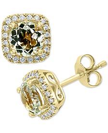 EFFY® Green Quartz (1-5/8 ct. t.w.) & Diamond (1/4 ct. t.w.) Stud Earrings in 14k Gold