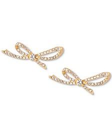 Gold-Tone Crystal Pavé Bow Earrings, Created for Macy's