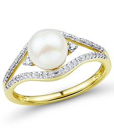 Cultured Freshwater Pearl (7mm) & Diamond (1/6 ct. t.w.) Ring in 14k Gold