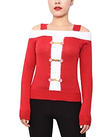 Juniors' Cold-Shoulder Santa Sweater