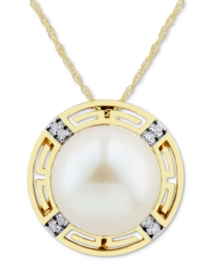 """White Cultured Ming Pearl (12mm) & Diamond Accent 18"""" Pendant Necklace in 14k Gold"""