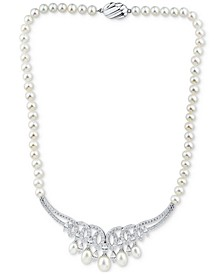 """Cultured Freshwater Pearl (6-8-1/2mm) & Cubic Zirconia 17"""" Statement Necklace in Sterling Silver"""