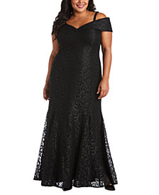 R & M Richards Plus Size Off-The-Shoulder Lace Gown