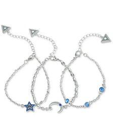 Silver-Tone 3-Pc. Set Stone-Accented Night Sky Chain Bracelets