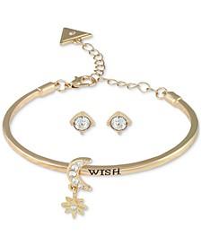 Gold-Tone Crystal Star & Moon Bangle Bracelet & Stud Earrings Set
