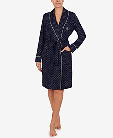 로렌 랄프로렌 잠옷 랩 로브 Lauren Ralph Lauren Knit Shawl-Collar Wrap Robe,Navy Dot