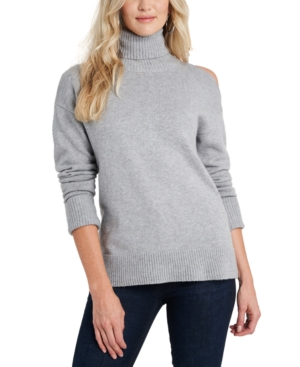 Image of 1.state Cold-Shoulder Cuffed Turtleneck Sweater