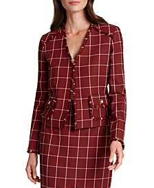 Plaid Fringe-Trim Blazer