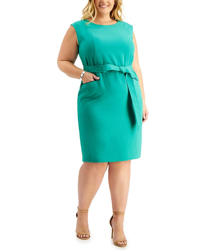 Kasper - Plus Size Belted Cap-Sleeve Dress