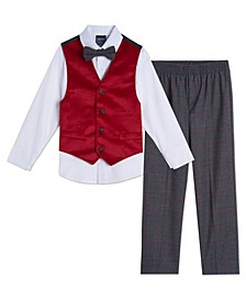 Toddler Boys Velvet 4 Piece Vest Set