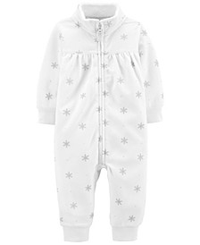 Carters Baby Girl Polka Dot Zip-Up Fleece Jumpsuit